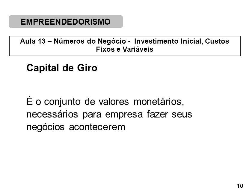 Capital de Giro È o conjunto de valores monetários, necessários para empresa fazer seus negócios acontecerem.
