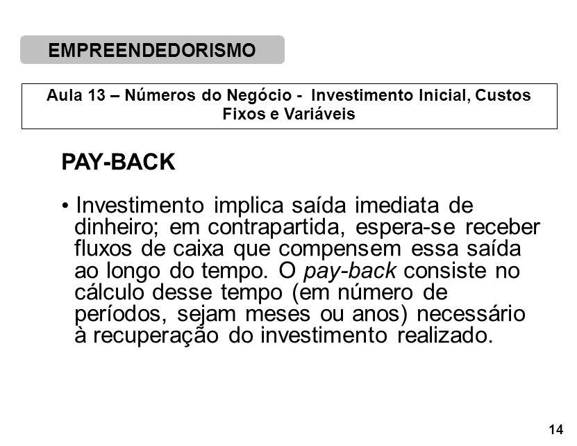 PAY-BACK Investimento implica saída imediata de. dinheiro; em contrapartida, espera-se receber. fluxos de caixa que compensem essa saída.