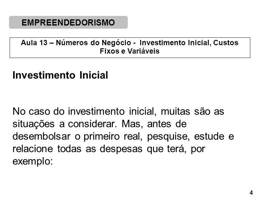 Investimento Inicial