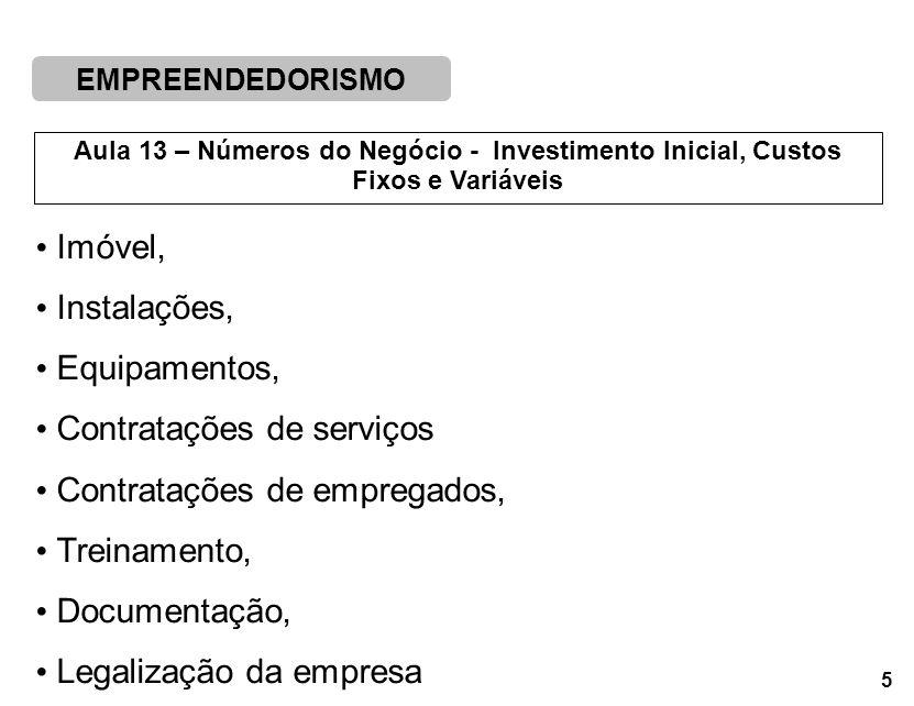 Imóvel, Instalações, Equipamentos, Contratações de serviços. Contratações de empregados, Treinamento,