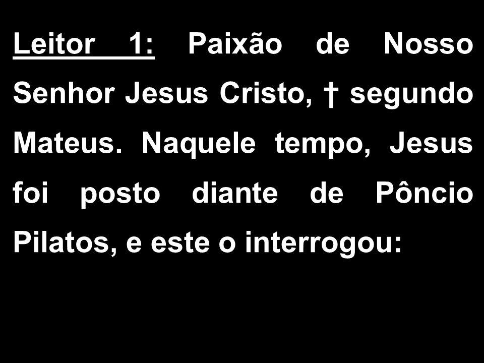 Leitor 1: Paixão de Nosso Senhor Jesus Cristo, † segundo Mateus
