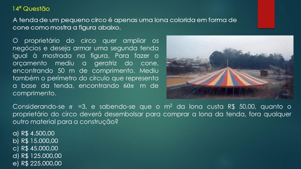 14ª Questão A tenda de um pequeno circo é apenas uma lona colorida em forma de cone como mostra a figura abaixo.