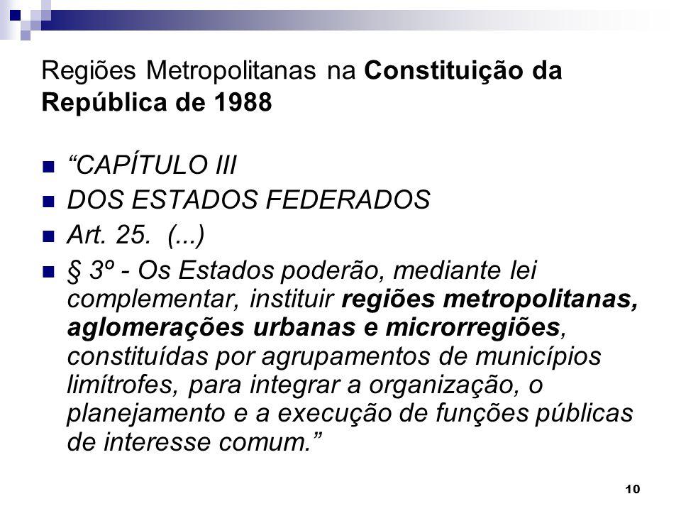 Regiões Metropolitanas na Constituição da República de 1988