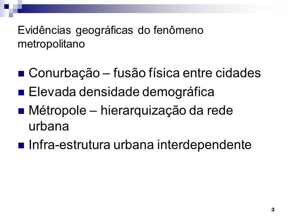 Evidências geográficas do fenômeno metropolitano