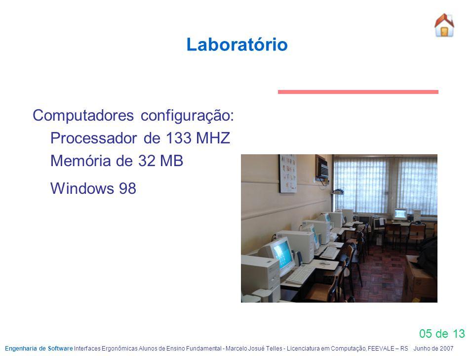 Laboratório Computadores configuração: Processador de 133 MHZ