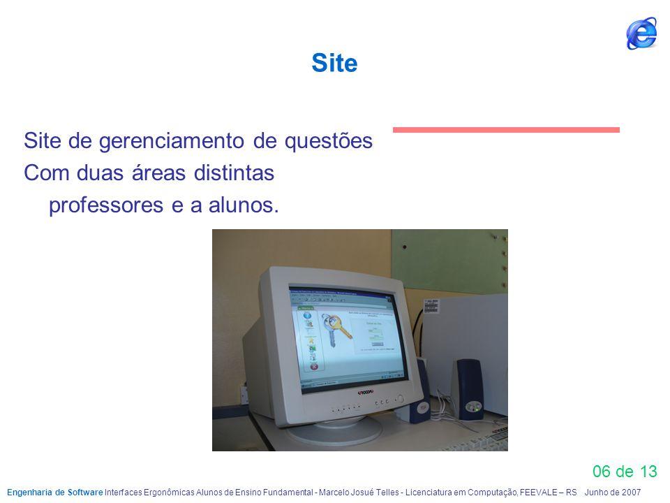 Site Site de gerenciamento de questões Com duas áreas distintas