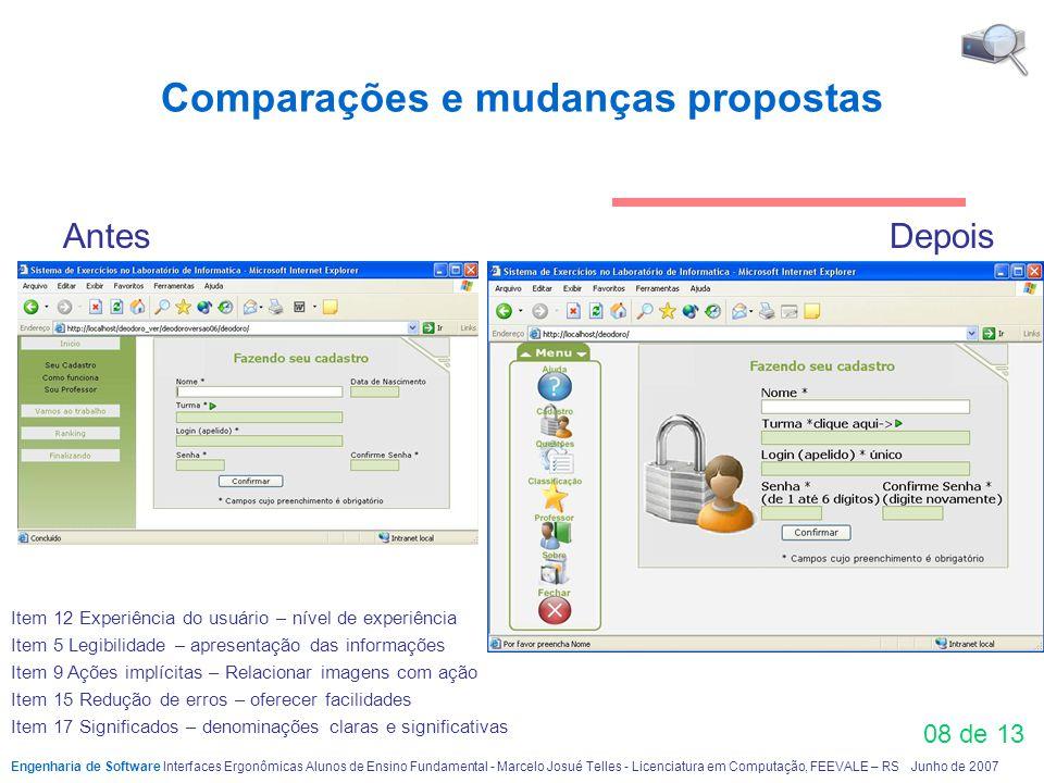 Comparações e mudanças propostas