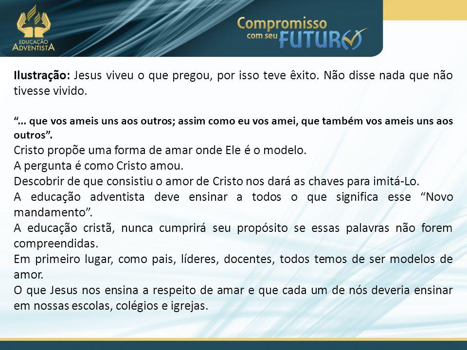 Cristo propõe uma forma de amar onde Ele é o modelo.