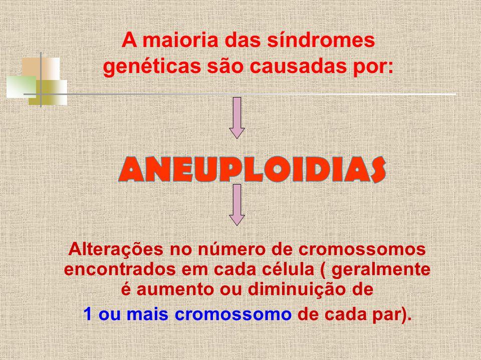 ANEUPLOIDIAS A maioria das síndromes genéticas são causadas por: