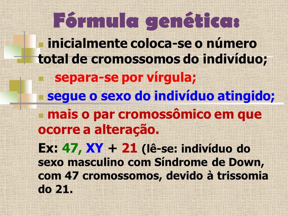 Fórmula genética: inicialmente coloca-se o número total de cromossomos do indivíduo; separa-se por vírgula;