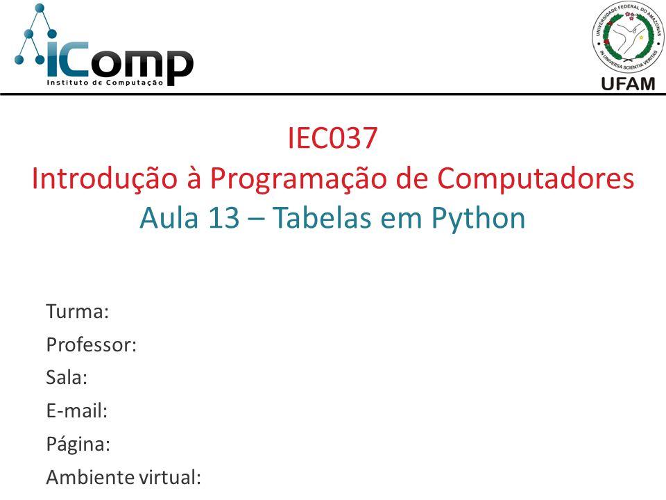 Introdução à Programação de Computadores Aula 13 – Tabelas em Python