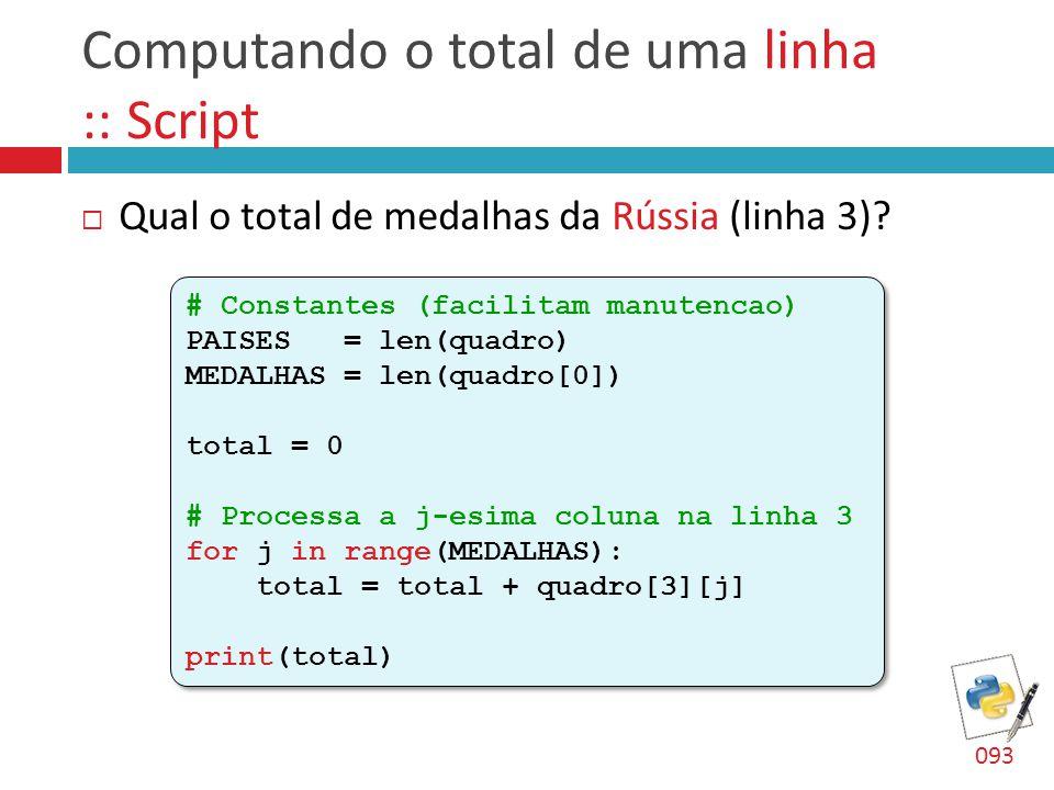 Computando o total de uma linha :: Script