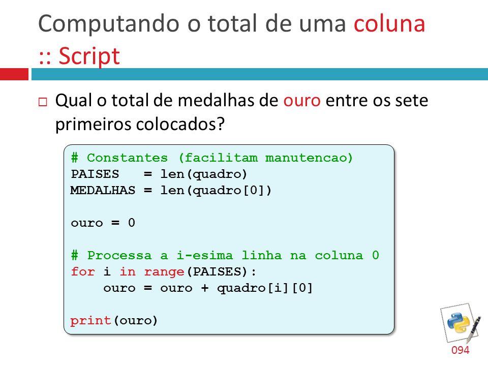 Computando o total de uma coluna :: Script