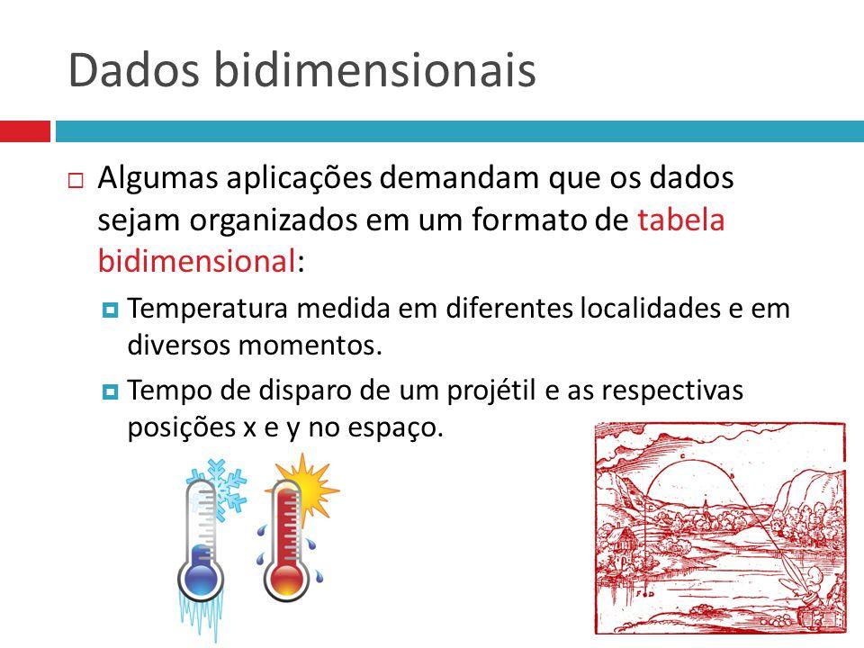 Dados bidimensionais Algumas aplicações demandam que os dados sejam organizados em um formato de tabela bidimensional:
