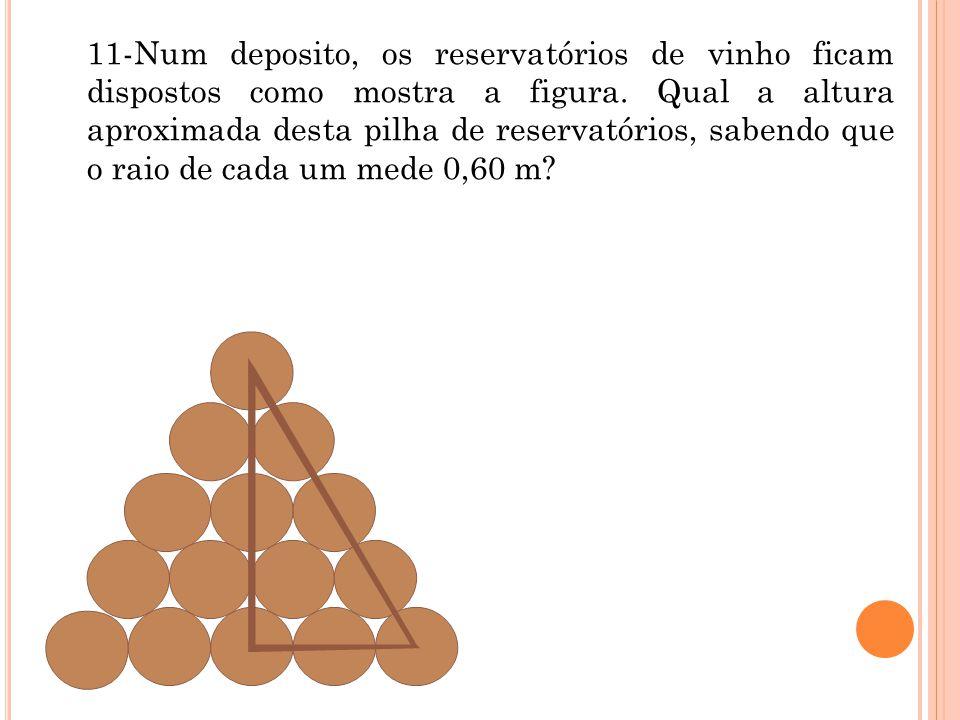 11-Num deposito, os reservatórios de vinho ficam dispostos como mostra a figura.