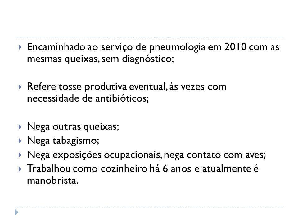 Encaminhado ao serviço de pneumologia em 2010 com as mesmas queixas, sem diagnóstico;