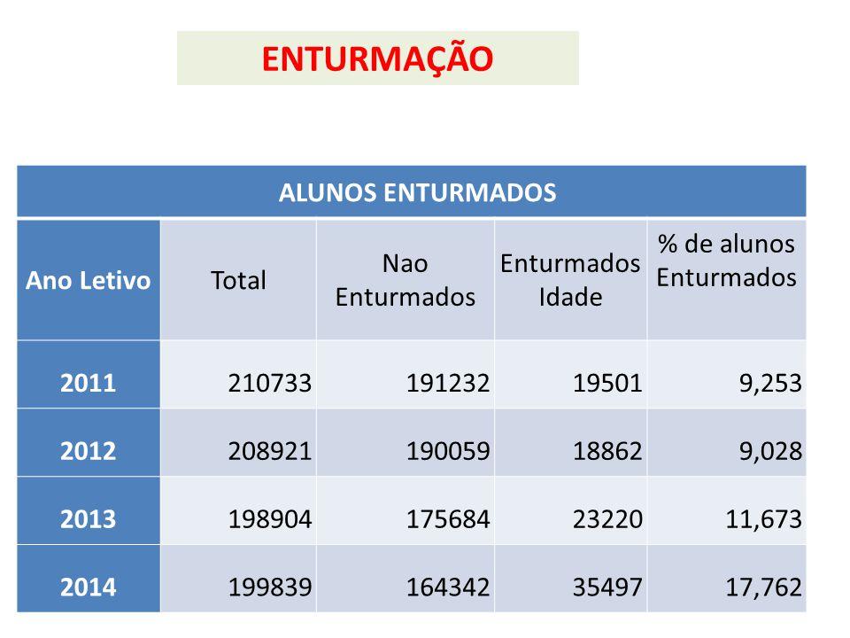 ENTURMAÇÃO ALUNOS ENTURMADOS Ano Letivo Total Nao Enturmados