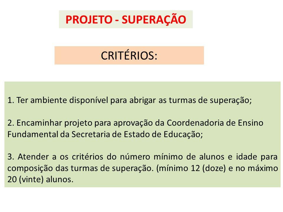 PROJETO - SUPERAÇÃO CRITÉRIOS: