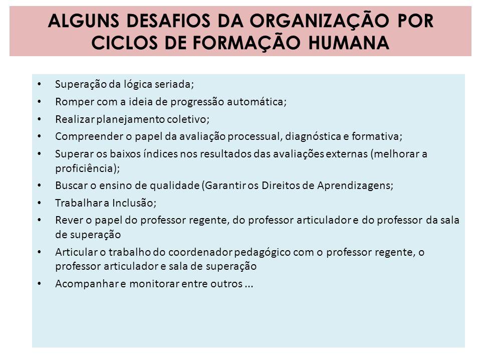 ALGUNS DESAFIOS DA ORGANIZAÇÃO POR CICLOS DE FORMAÇÃO HUMANA