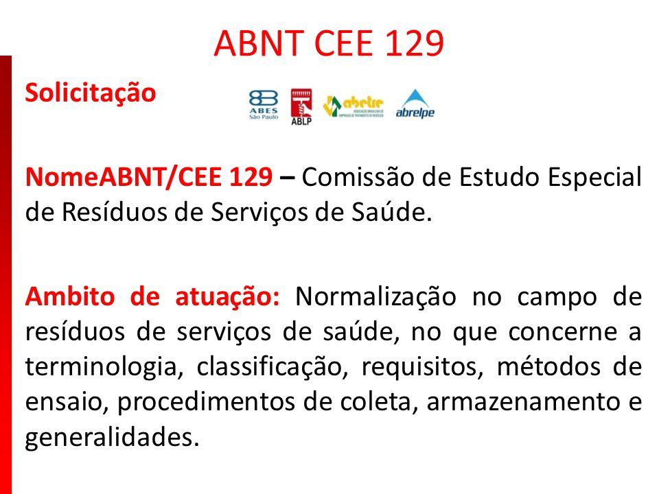 ABNT CEE 129 Solicitação. NomeABNT/CEE 129 – Comissão de Estudo Especial de Resíduos de Serviços de Saúde.