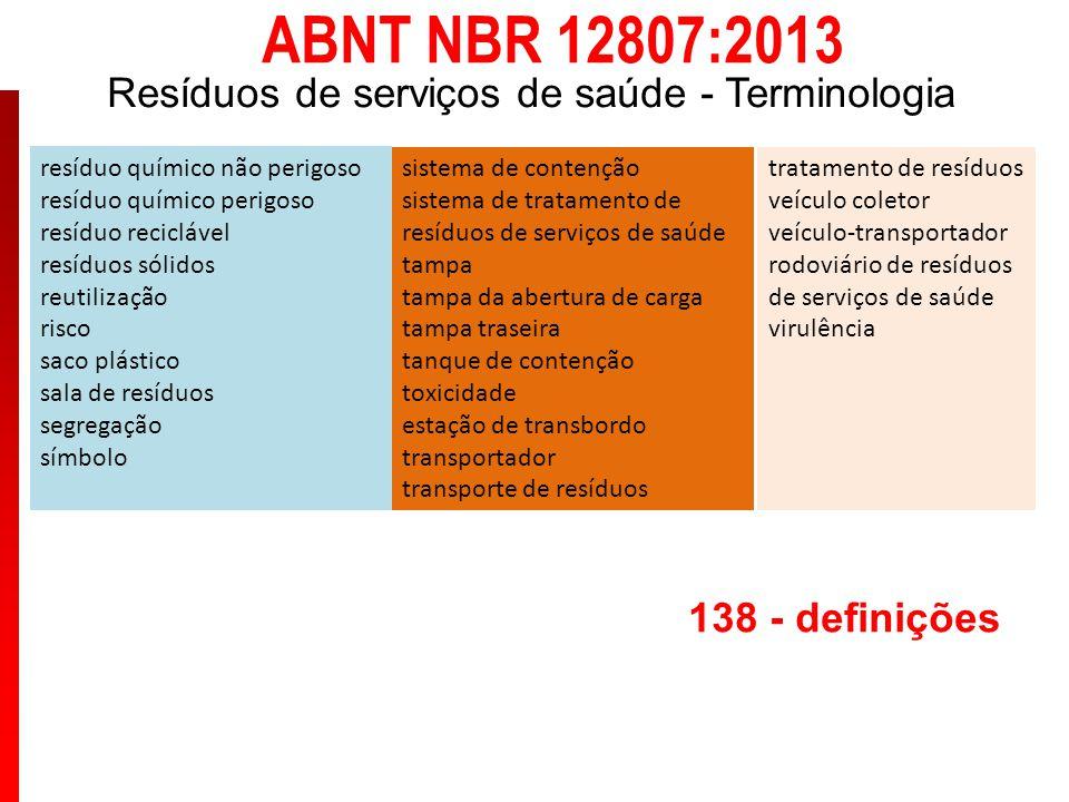 ABNT NBR 12807:2013 Resíduos de serviços de saúde - Terminologia