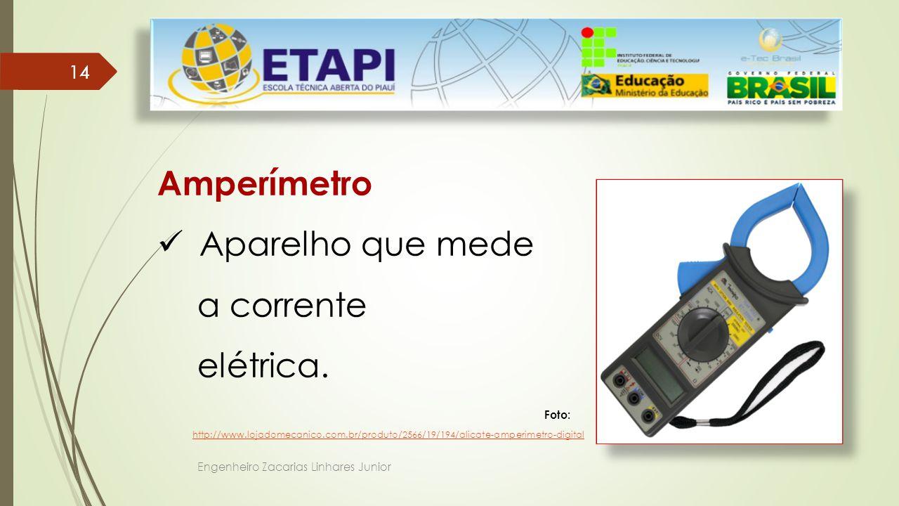 Amperímetro Aparelho que mede a corrente elétrica. 14 Foto:
