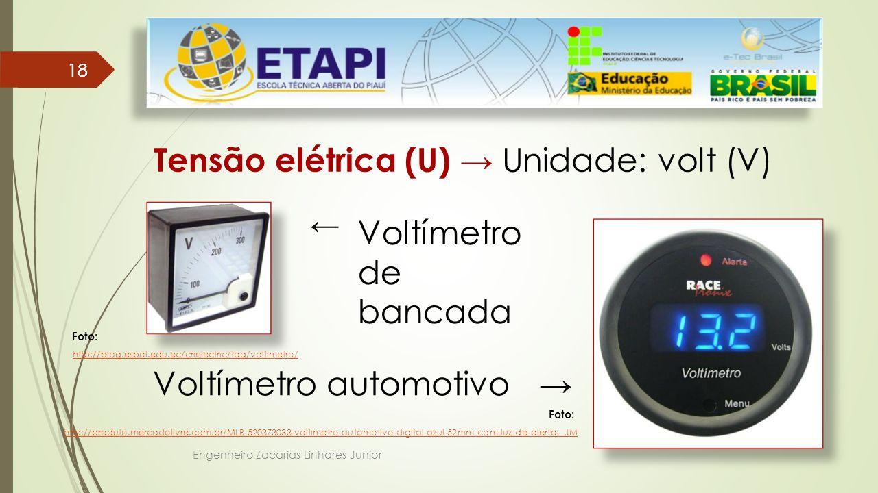 Tensão elétrica (U) → Unidade: volt (V)