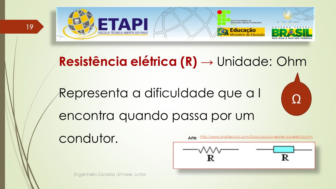 Resistência elétrica (R) → Unidade: Ohm