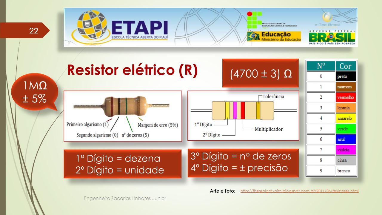 Resistor elétrico (R) (4700 ± 3) Ω 1MΩ ± 5% 3º Dígito = no de zeros
