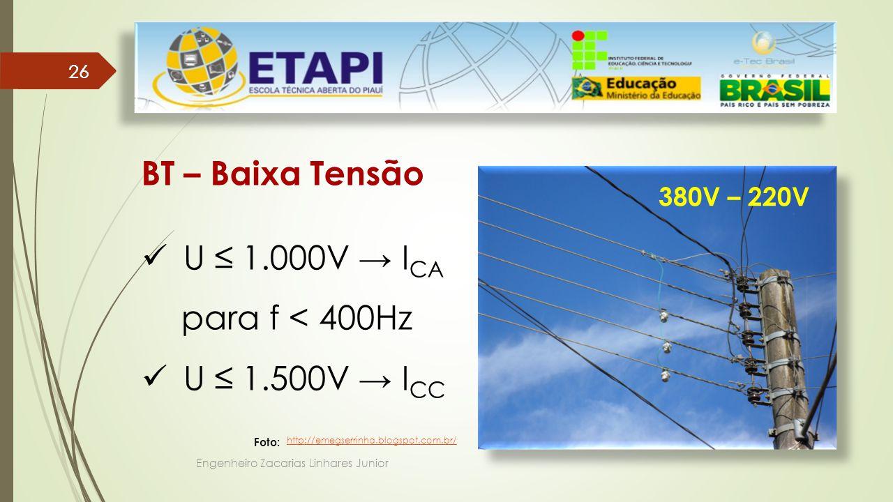 BT – Baixa Tensão U ≤ 1.000V → ICA para f < 400Hz U ≤ 1.500V → ICC
