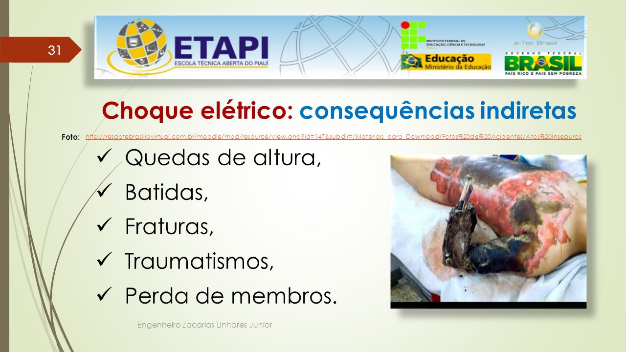 Choque elétrico: consequências indiretas