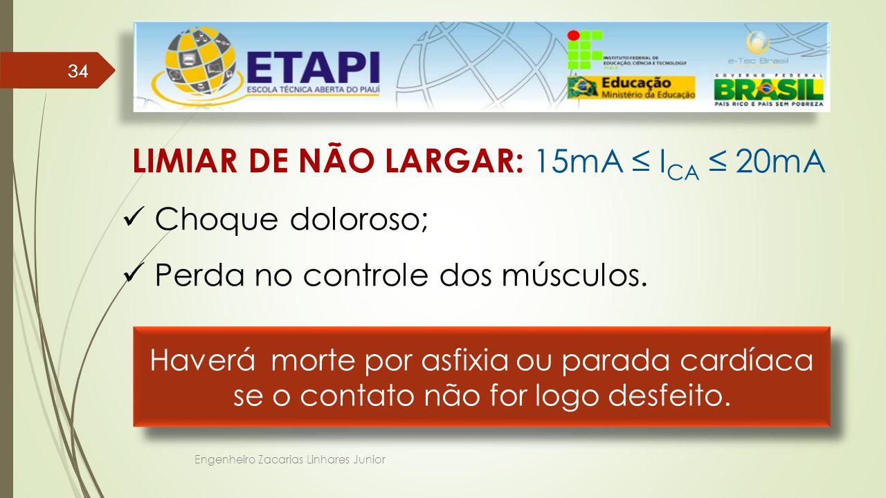 LIMIAR DE NÃO LARGAR: 15mA ≤ ICA ≤ 20mA