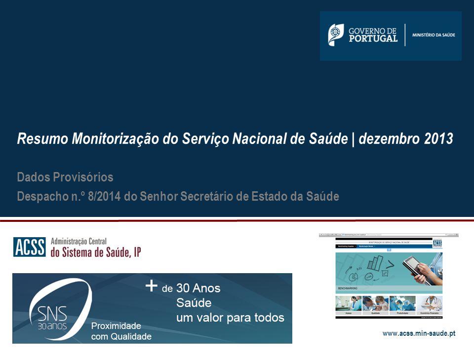 Resumo Monitorização do Serviço Nacional de Saúde | dezembro 2013