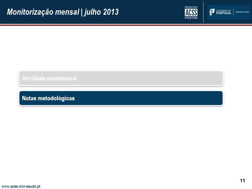 Monitorização mensal | julho 2013