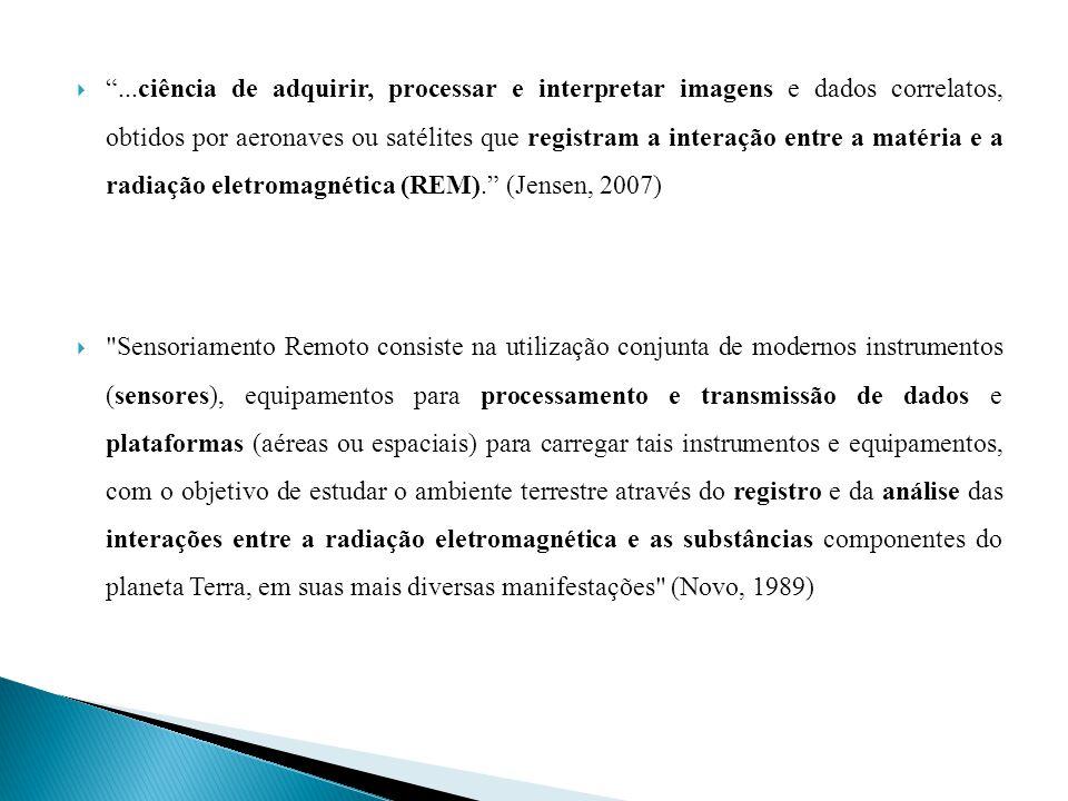 ...ciência de adquirir, processar e interpretar imagens e dados correlatos, obtidos por aeronaves ou satélites que registram a interação entre a matéria e a radiação eletromagnética (REM). (Jensen, 2007)