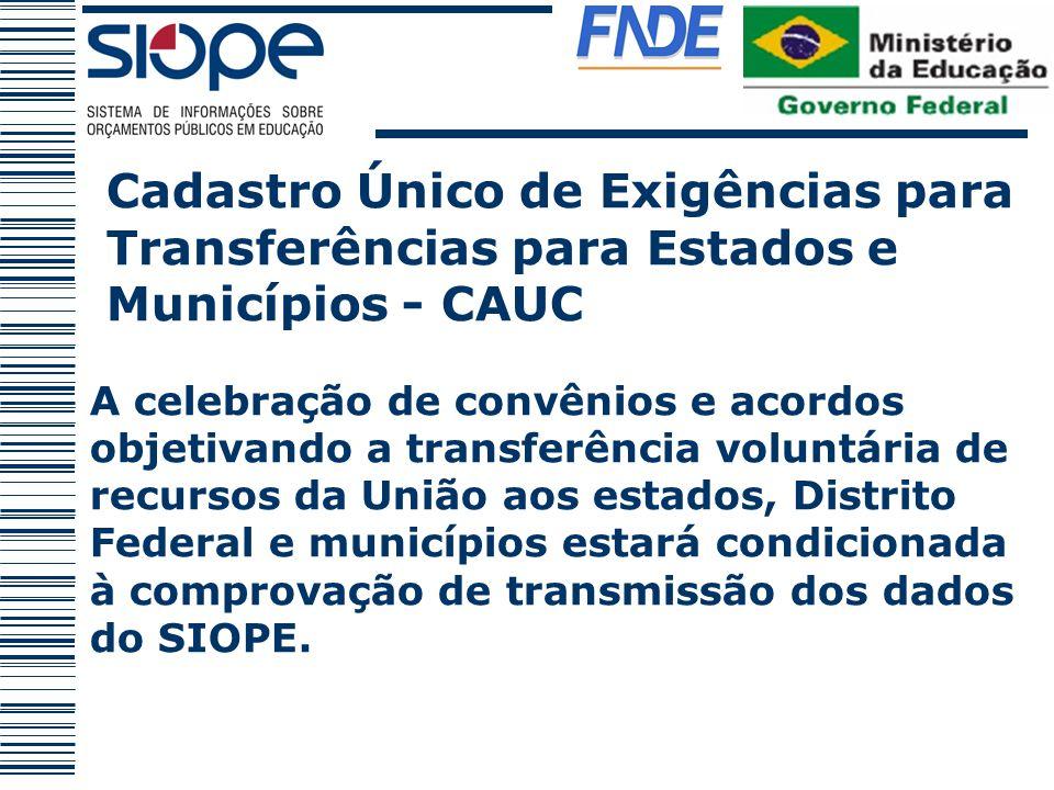 Cadastro Único de Exigências para Transferências para Estados e Municípios - CAUC