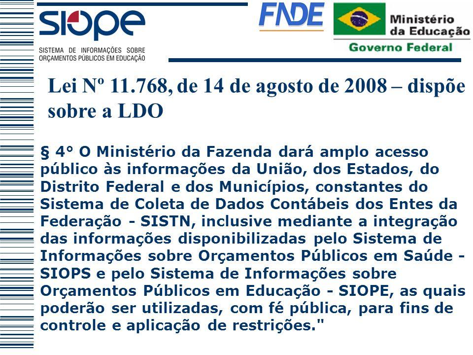 Lei Nº 11.768, de 14 de agosto de 2008 – dispõe sobre a LDO