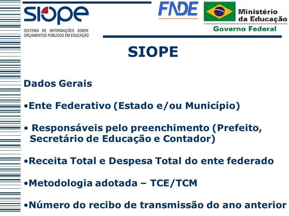 SIOPE Dados Gerais Ente Federativo (Estado e/ou Município)