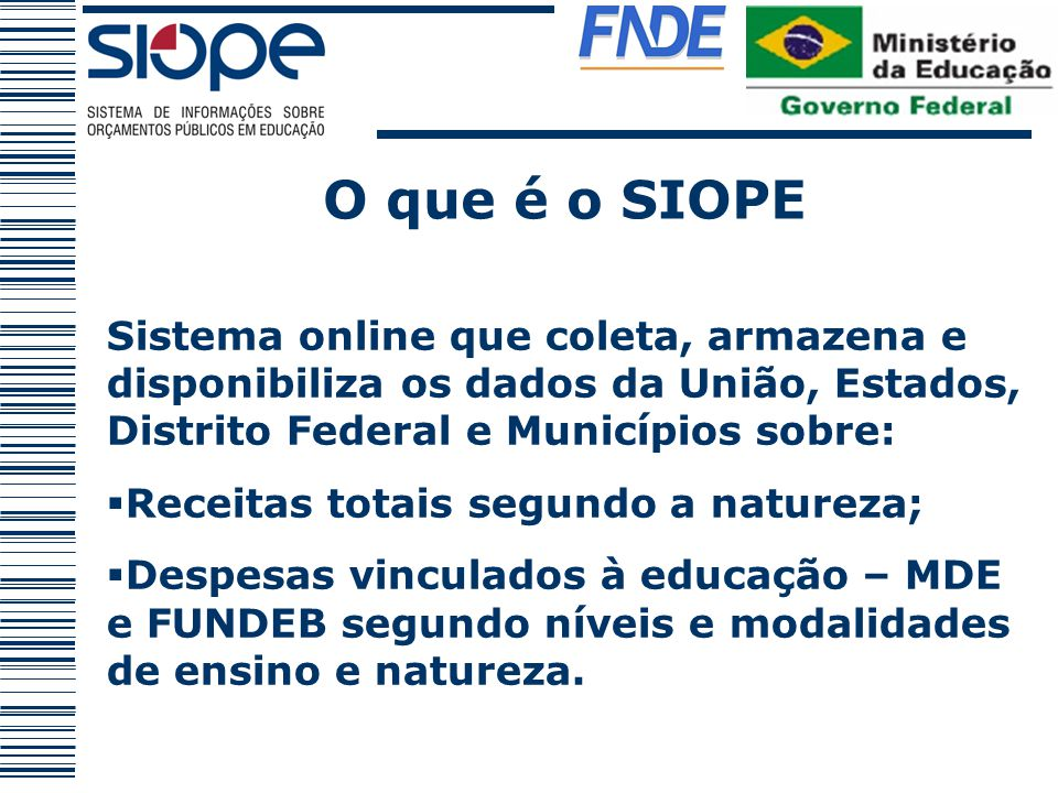 O que é o SIOPE Sistema online que coleta, armazena e disponibiliza os dados da União, Estados, Distrito Federal e Municípios sobre:
