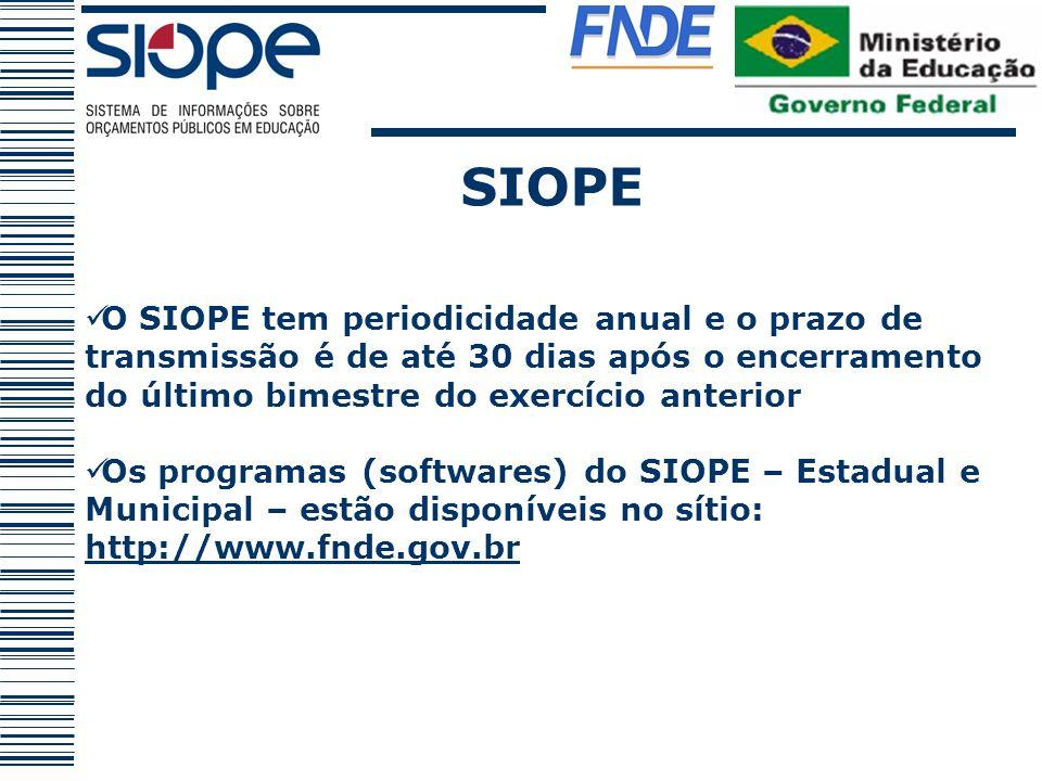 SIOPE O SIOPE tem periodicidade anual e o prazo de transmissão é de até 30 dias após o encerramento do último bimestre do exercício anterior.