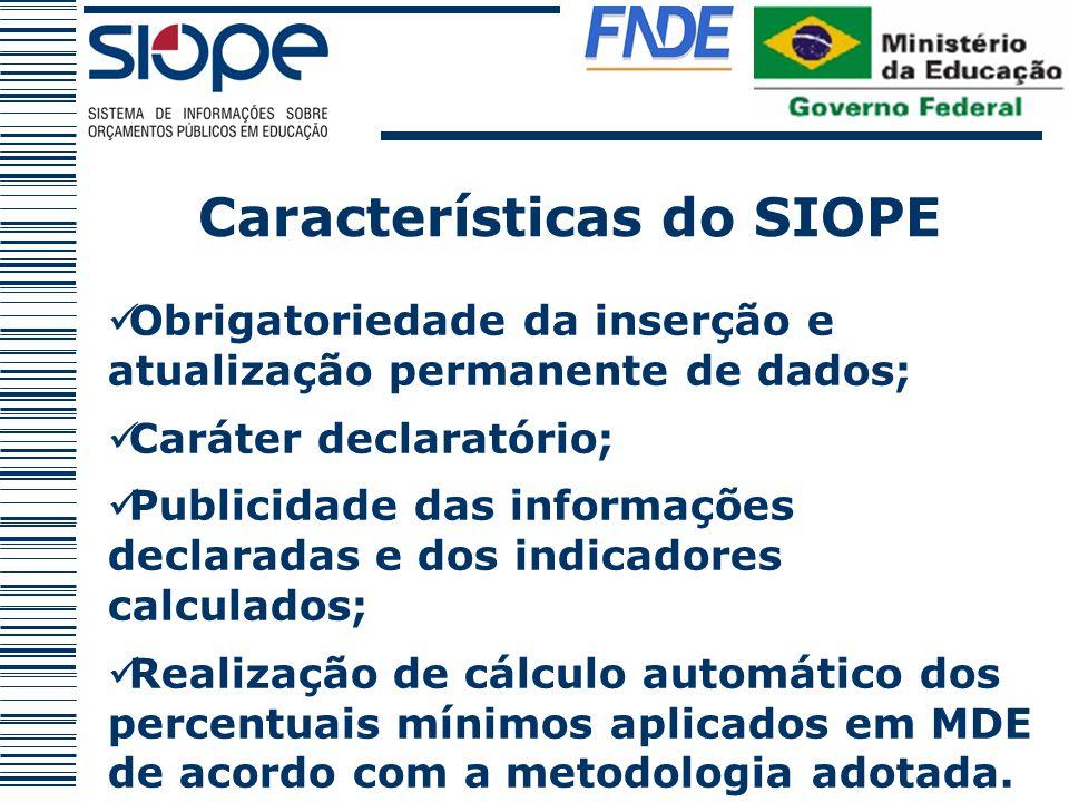 Características do SIOPE