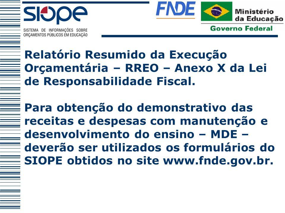 Relatório Resumido da Execução Orçamentária – RREO – Anexo X da Lei de Responsabilidade Fiscal.