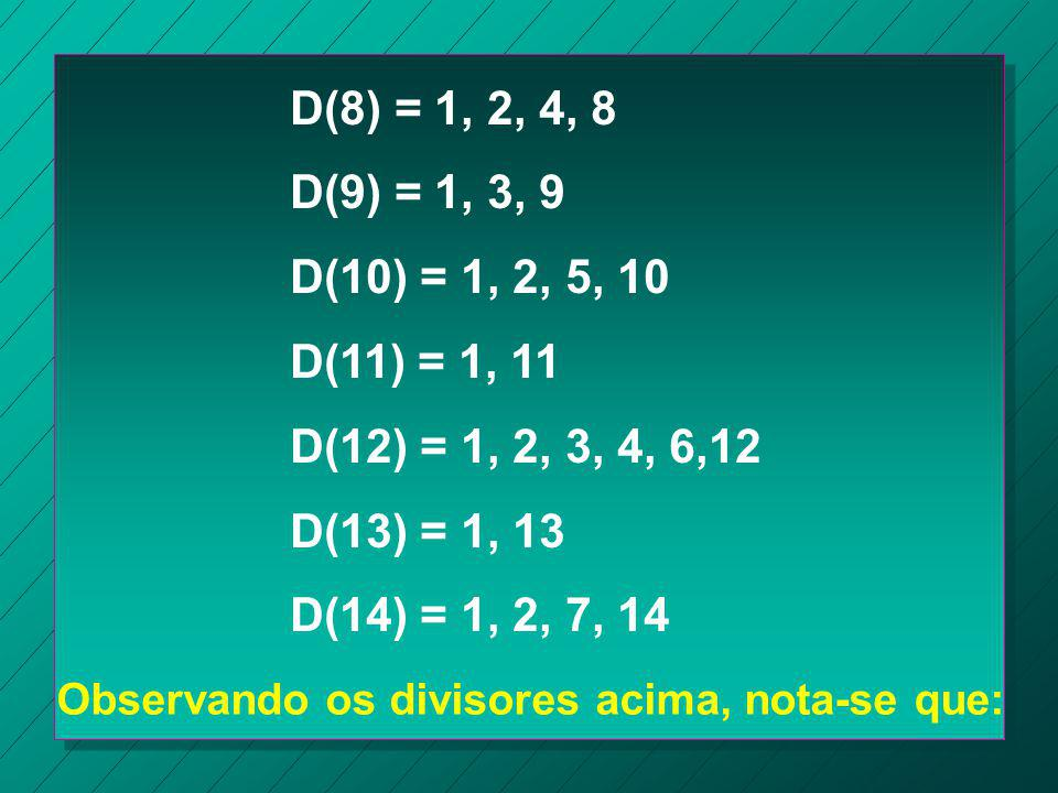 D(8) = 1, 2, 4, 8 D(9) = 1, 3, 9. D(10) = 1, 2, 5, 10. D(11) = 1, 11. D(12) = 1, 2, 3, 4, 6,12. D(13) = 1, 13.