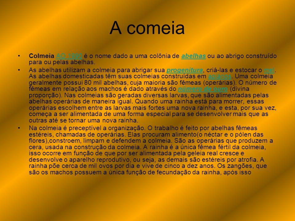 A comeia Colmeia AO 1990 é o nome dado a uma colônia de abelhas ou ao abrigo construído para ou pelas abelhas.