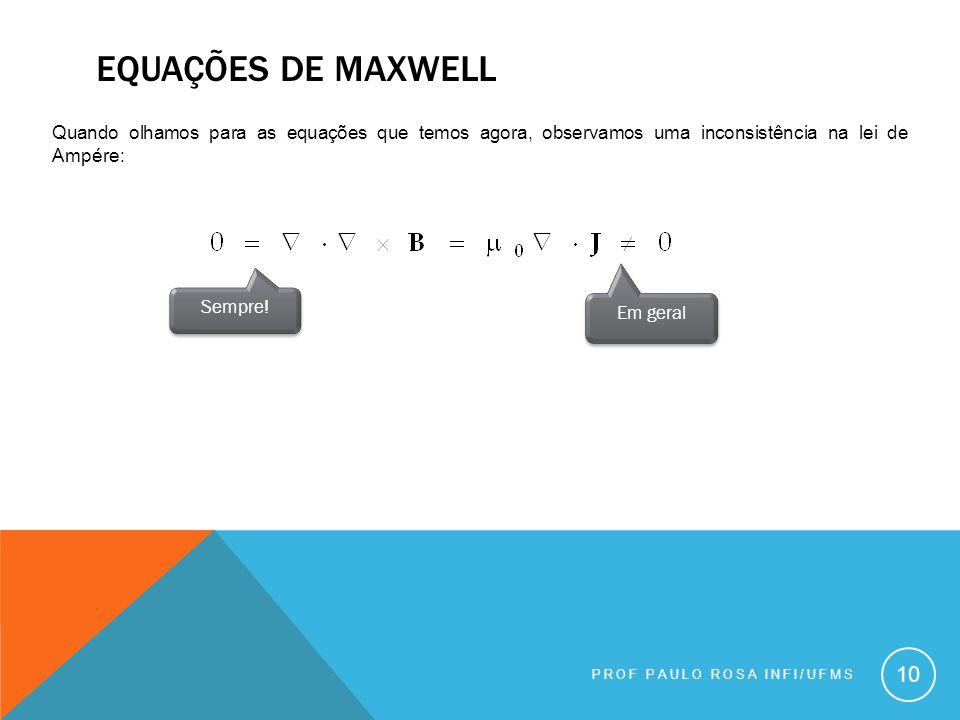 Equações de maxwell Quando olhamos para as equações que temos agora, observamos uma inconsistência na lei de Ampére: