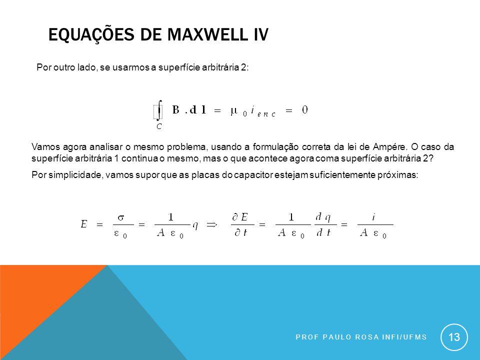 Equações de maxwell iv Por outro lado, se usarmos a superfície arbitrária 2: