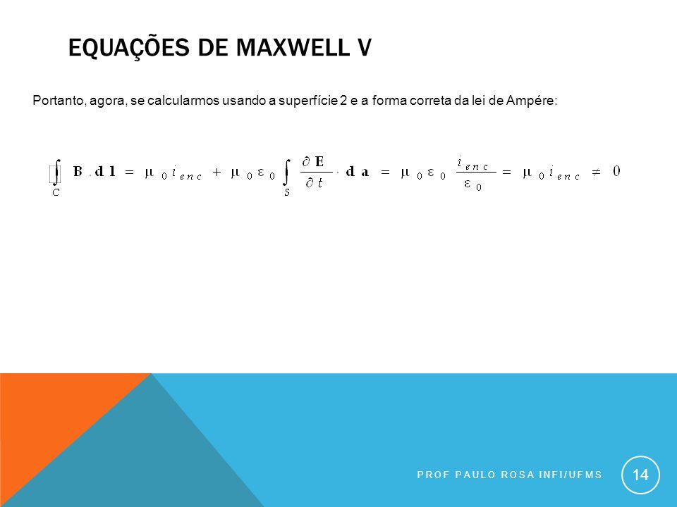 Equações de maxwell v Portanto, agora, se calcularmos usando a superfície 2 e a forma correta da lei de Ampére: