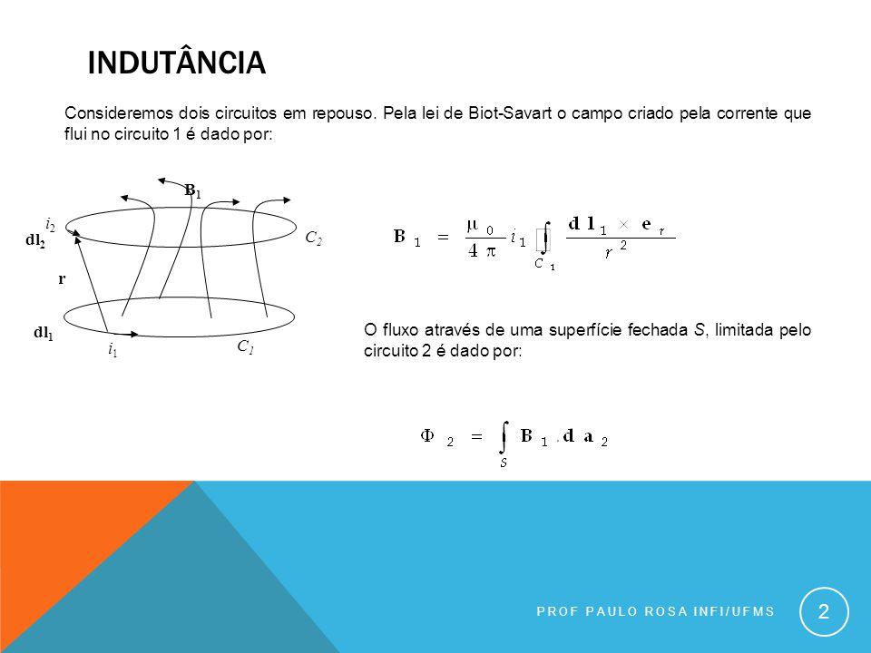 indutância Consideremos dois circuitos em repouso. Pela lei de Biot-Savart o campo criado pela corrente que flui no circuito 1 é dado por: