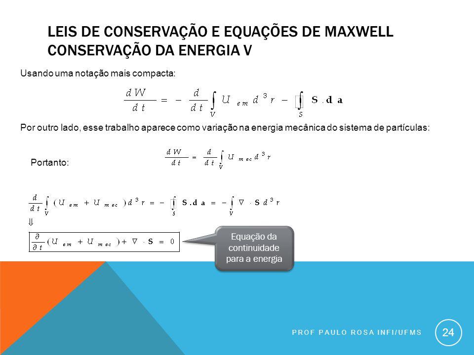 Equação da continuidade para a energia