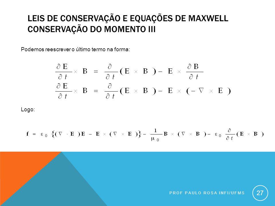 Leis de conservação e equações de maxwell conservação do momento III